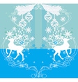 Merry Christmas card with snowflakes and reindeers vector image vector image