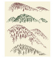 mountain forest set hand drawn coniferous woods vector image