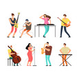 music band musicians with musical instruments vector image