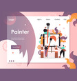 painter website landing page design vector image vector image