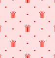 pink seamless pattern with gifts and hearts vector image