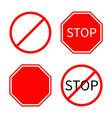 Prohibition no symbol Red round stop warning road vector image vector image