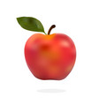 red apple with green leaves isolated on white vector image