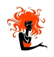 Red hair woman specifies a hand vector image vector image
