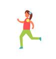 running girl badge training sport theme vector image vector image