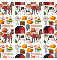 seamless background design with farmers and vector image vector image
