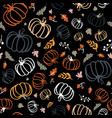 seamless pattern colorful pumpkins with maple vector image vector image