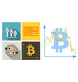 set of economic icons included bitcoin in chart vector image vector image