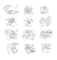 set sketch various funny stories from life vector image
