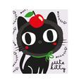 stock cute black cat vector image vector image