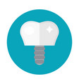 tooth implant on the screw icon flat style vector image