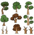 Trees collection cartoon in doodle vector image