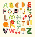 typography kitchen poster food alphabet vector image vector image