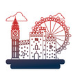 united kingdom big ben castle and london eye vector image