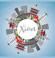 xian skyline with gray buildings blue sky and vector image vector image