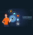 young business man choose virtual icons touching vector image