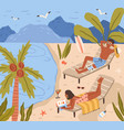 young people lying on beach and sunbathing at sea vector image vector image