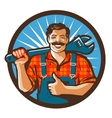 plumbing services plumber holding a wrench vector image