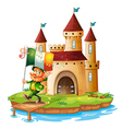 A castle with a man holding the flag of Ireland vector image vector image