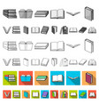 book in the binding flat icons in set collection vector image vector image