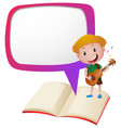 border template with boy playing guitar vector image vector image