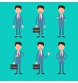 Business Man in Different Poses with Briefcase