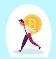 businessman carry back bitcoin coin male mining vector image vector image
