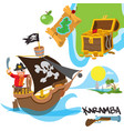 caricature with image a pirate on ship vector image vector image