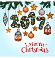 Christmas greeting card with decorated xmas tree vector image vector image