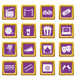 cinema icons set purple vector image vector image