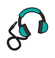 cute blue headphones cartoon vector image