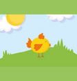 cute chicken in grass sun clouds farm animal vector image vector image