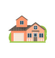 cute small light red village house with garage vector image vector image
