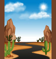 desert scene with road and cactus vector image vector image