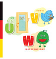 deutsch alphabet door bird watermelon vector image vector image