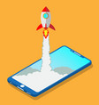 flat style rocket vector image vector image