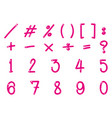 font design for numbers and signs in pink color vector image vector image