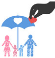 hand pick up heart from family puzzle vector image vector image