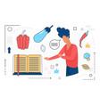 healthy food recipe book man character vector image