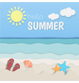 hello summer paper art sea and beach vector image