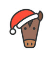 horse face with santa hat filled style icon vector image