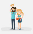 isolated happy family with little twins on a vector image