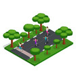isometry girls run cross outdoors in park vector image