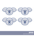 kawaii nice pastel kid cartoon koala faces set vector image vector image