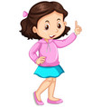 little girl pointing up the finger vector image vector image