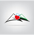 logo mountains with heart colorful and shadow vector image