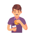 man eating fast food male character vector image