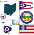 map ohio with seal vector image vector image
