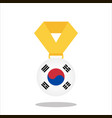 medal with the korea flag isolated on white vector image vector image