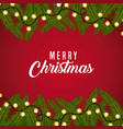 merry christmas card greeting branch tree border vector image